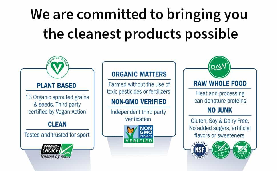 garden of life raw organic meal ingredients certificates