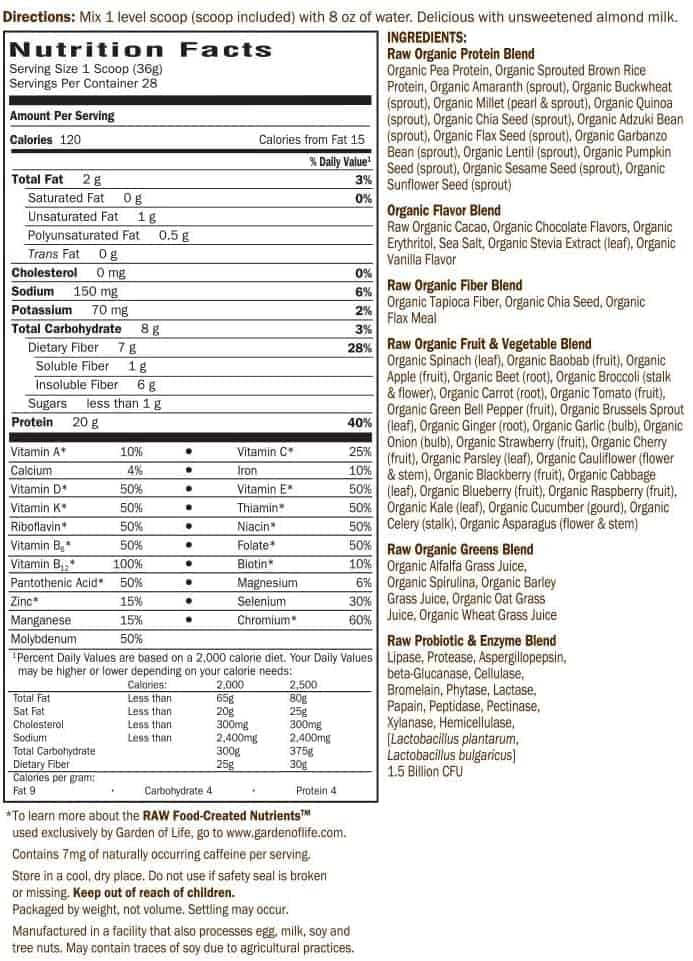 garden of life raw organic meal ingredients nutrition facts
