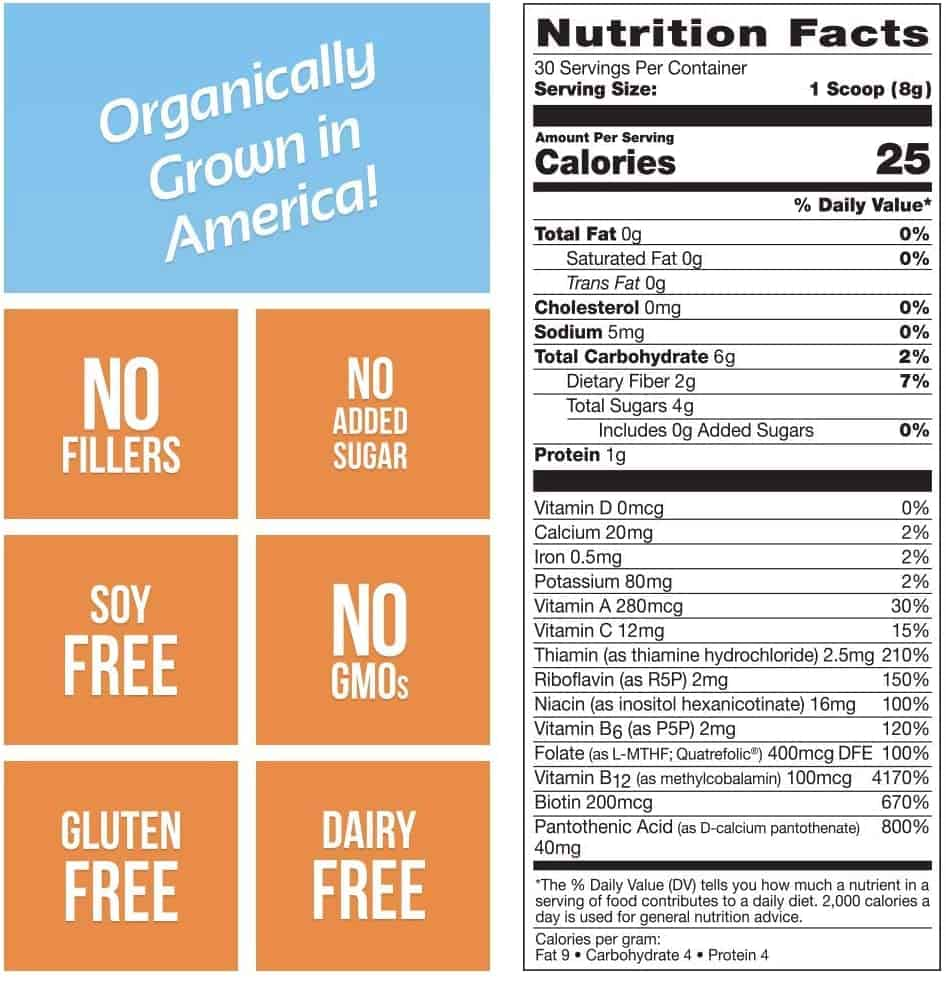 Grown American Superfood Nutrition Facts