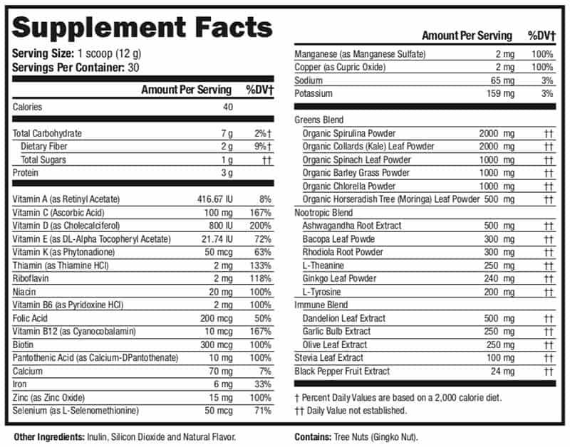 supergreen tonik nutrition facts