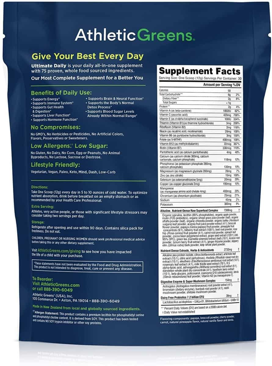 Athletic Greens Ultimately Daily Supplement Facts